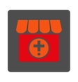 Hospital Rounded Square Button vector image