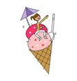 Ice cream woman vector image vector image