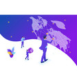isometric businessman running the map world vector image