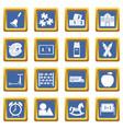 kindergarten symbol icons set blue vector image vector image