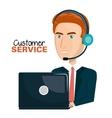 laptop man customer service call center design vector image vector image