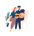lovely couple sitting on bench and playing guitar vector image vector image