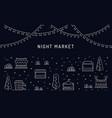 night market open air outdoor summer fest vector image
