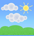 peaceful land with clouds and sun optimistic vector image vector image
