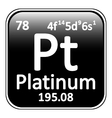 Periodic table element platinum icon vector image vector image