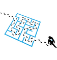 Person solves business problem maze puzzle vector image vector image