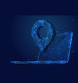 pin and laptop low poly blue vector image