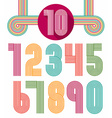 Retro stripes funky numbers set vector image vector image