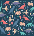 seamless pattern dinosaurs dark background cute vector image