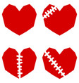set of four red hearts with scar vector image vector image