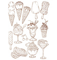 Set of isolated sketch ice cream icons vector image