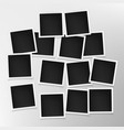 set photo frames on grey wall template of vector image