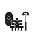 sitting on a park bench black concept icon vector image