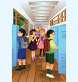 students put their stuff in the locker vector image