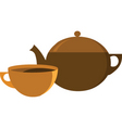tea pot with cup vector image vector image
