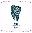Tooth with doodle ornament vector image