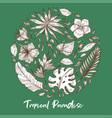 tropical paradise palm leaves and exotic flowers vector image vector image