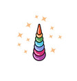unicorn horn rainbow icon vector image vector image