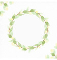 watercolor green leaf wreath with yellow light vector image vector image
