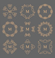 abstract arrow line frame monogram logos set vector image