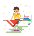 woman irons clothes at home vector image