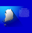 abstract map of south korea with long shadow on vector image