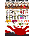 Asian culture with people in costume vector image