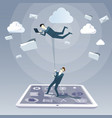 business man hold colleague flying in sky using vector image vector image