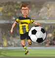 cartoon football player running for the ball vector image vector image