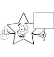 Cartoon star holding a sign vector image vector image