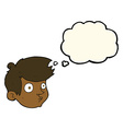 cartoon staring boy with thought bubble vector image vector image