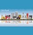 cedar rapids iowa skyline with color buildings vector image vector image