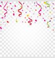Colorful confetti serpentine or ribbons falling vector image