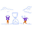 confused businessmen hurry up sand watch icon vector image vector image
