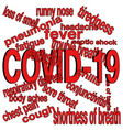 covid19 19 symptoms word cloud vector image