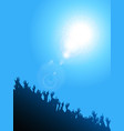 crowd silhouette under sunshine background vector image vector image