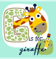 cute giraffe cartoon and funny pencil vector image