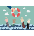 Drowning businessmen getting only one lifebuoy vector image vector image