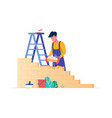 flat young man bricks stacker with equipment makes vector image