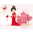 geisha celebrated Chinese New Year vector image vector image