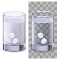 glass of water and pills on white for design vector image vector image