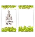 Green tea menu template Zen monk with teapot logo vector image