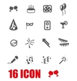 grey birthday icon set vector image vector image