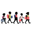 group of kids silhouettes with backpacks vector image vector image