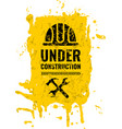 grunge scratched under construction warning road vector image vector image