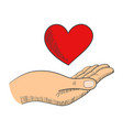 hand with a heart shape symbol vector image vector image