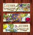 horizontal banners with mediterranean food on the vector image vector image