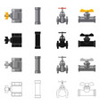 isolated object pipe and tube icon collection vector image vector image