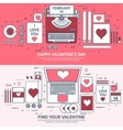 Love and heart Lined Flat vector image