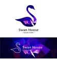 low poly swan logo Beautiful diamond style vector image vector image